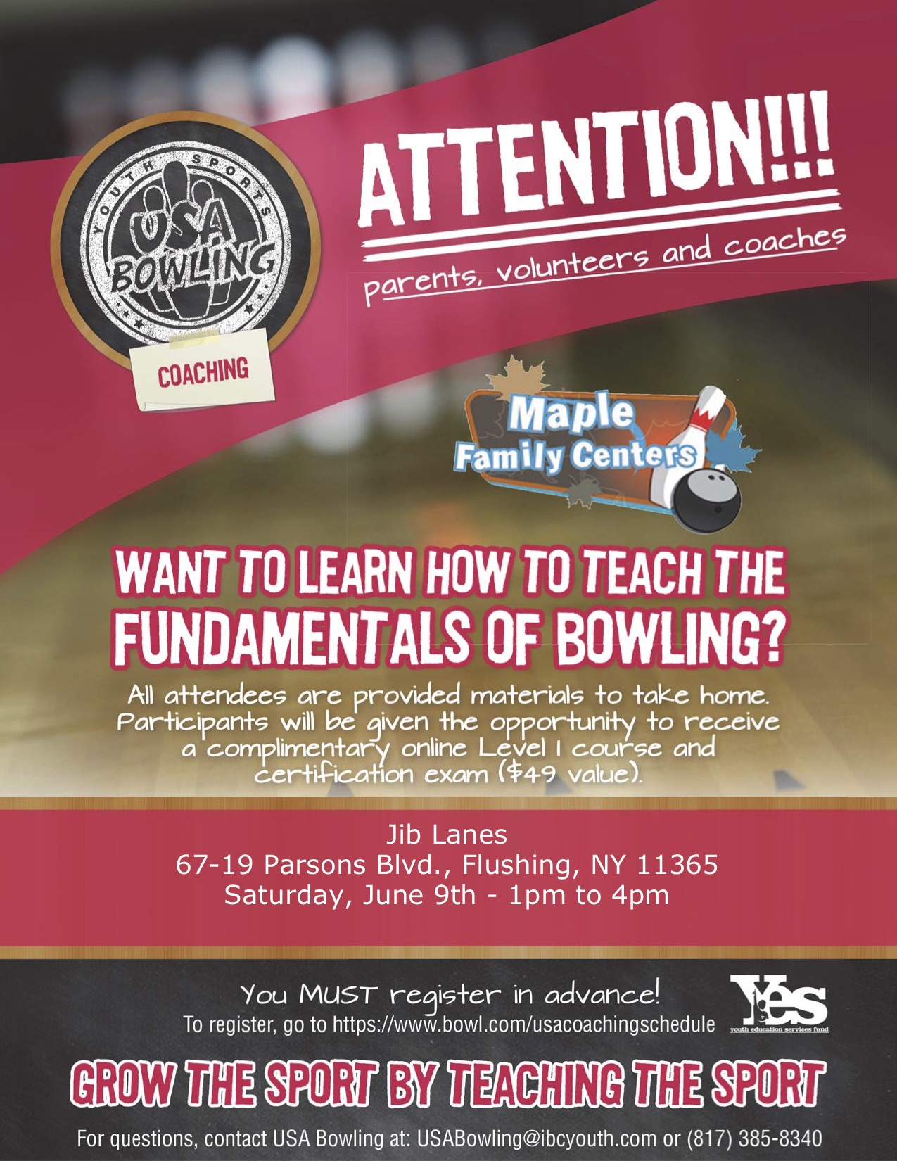 Jib Lanes-2018 USA Bowling Coaching Seminar Flyer