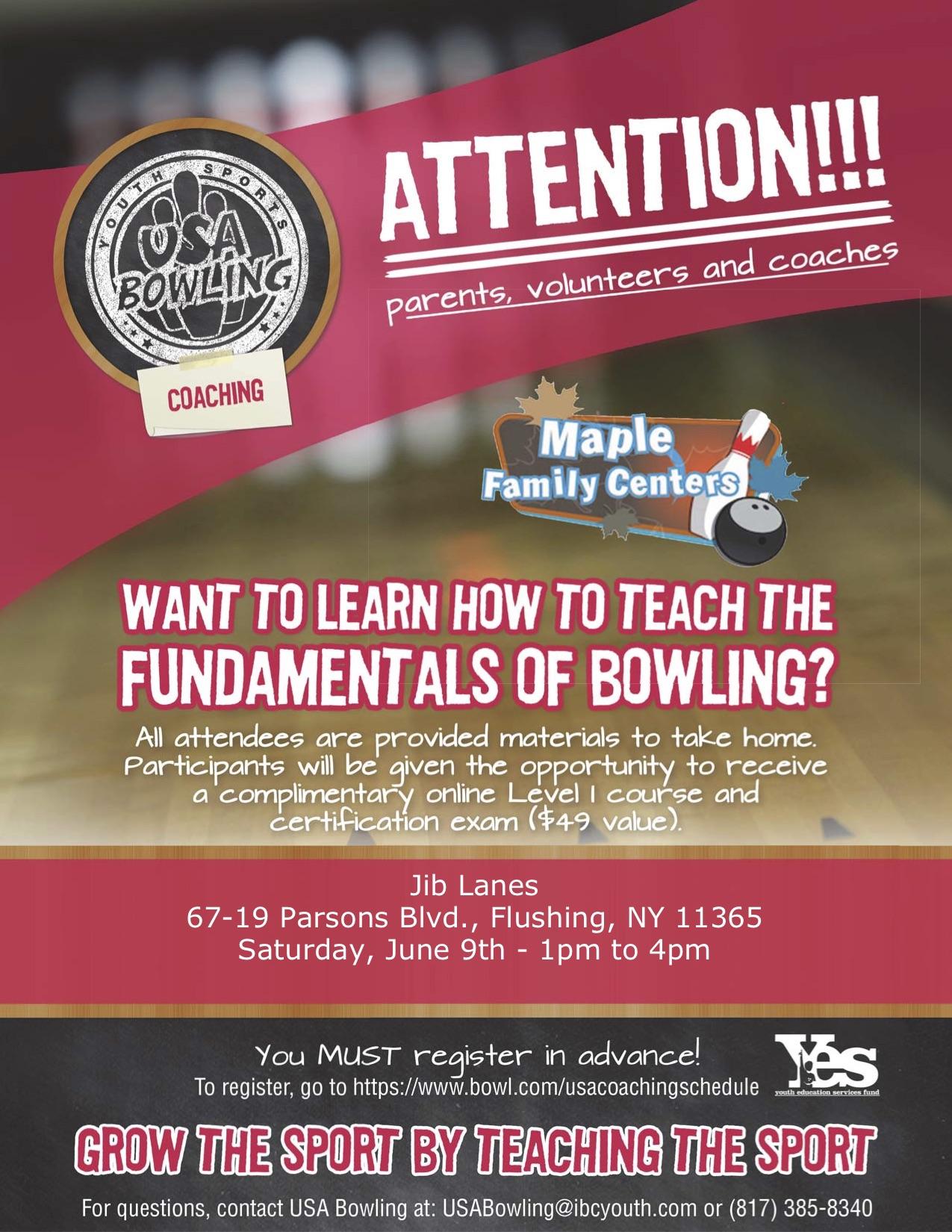 Jib Lanes-2018 USA Bowling Coaching Seminar Flyer